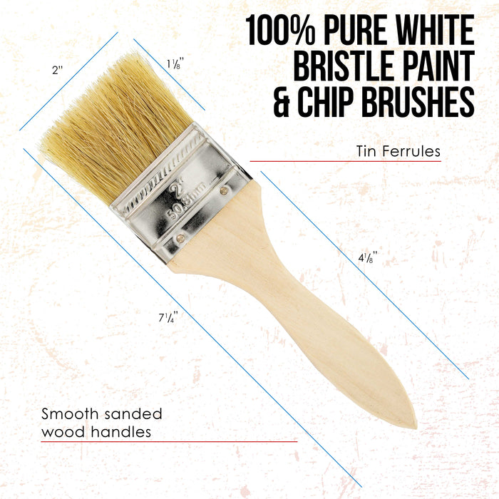 24 Pack of 2 inch Paint and Chip Paint Brushes for Paint, Stains, Varnishes, Glues, and Gesso