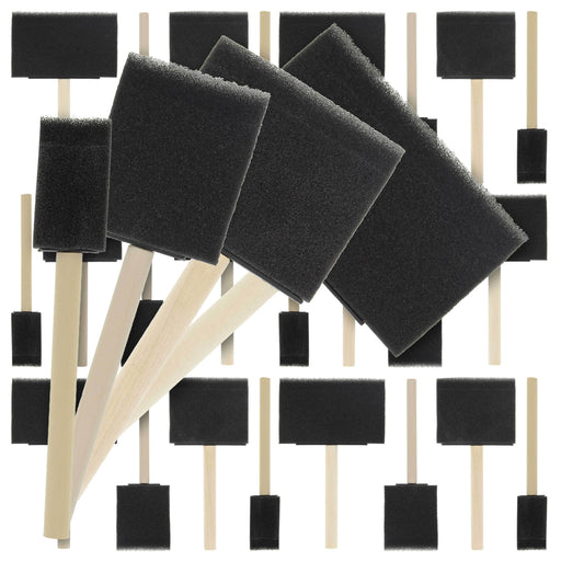 Variety Pack Foam Sponge Wood Handle Paint Brush Set (Value Pack of 40 Brushes) - Lightweight, durable and great for Acrylics, Stains, Varnishes, Crafts, Art