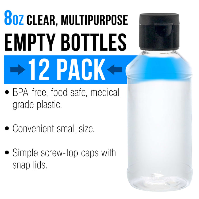 8 ounce Squeeze PET Plastic Bottles with Flip Cap - BPA-free, food safe, medical grade plastic, acrylic pouring paint (Pack of 12)