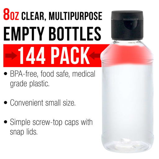 8 ounce Squeeze PET Plastic Bottles with Flip Cap - BPA-free, food safe, medical grade plastic, acrylic pouring paint (Pack of 144)