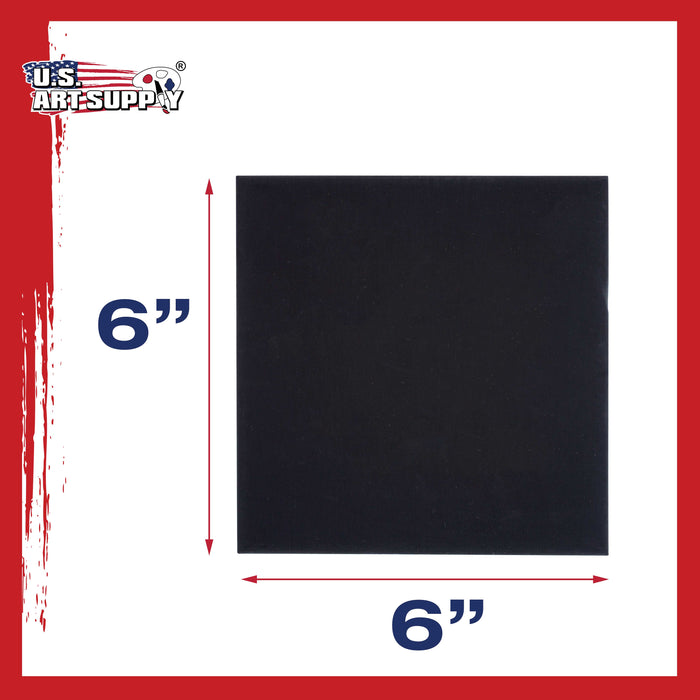 "6"" X 6"" Black Professional Artist Quality Acid Free Canvas Panels 6-Pack (1 Full Case of 6 Single Canvas Panels)"