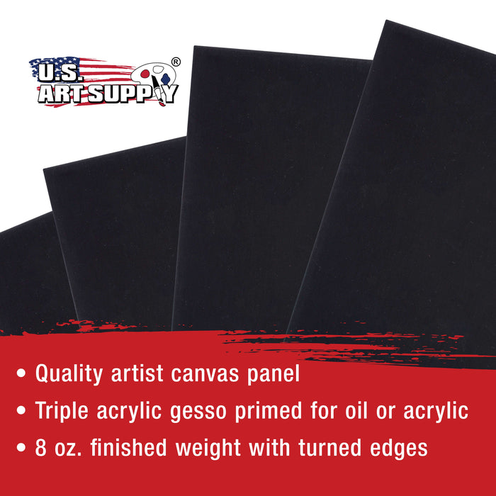 "12"" x 16"" Black Professional Artist Quality Acid Free Canvas Panel Boards for Painting 6-Pack"