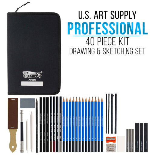 40-Piece Drawing & Sketching Art Set - Pro Artist Kit, Graphite, Charcoal, Pastel Pencils & Sticks, Blend Stumps - Zippered Carry Case
