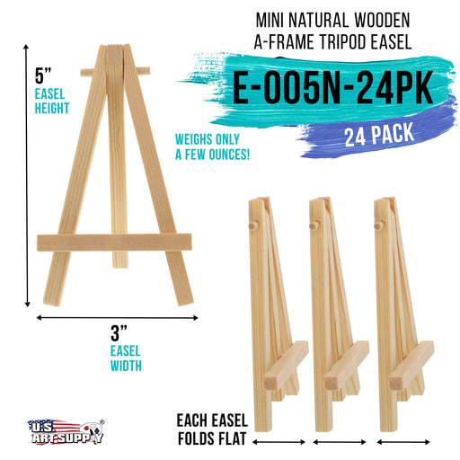 "5"" Mini Natural Wood Display Easel (Pack of 24), A-Frame Artist Painting Party Tripod Easel - Tabletop Holder Stand for Small Canvases, Kids Crafts, Business Cards, Signs, Photos, Gift"