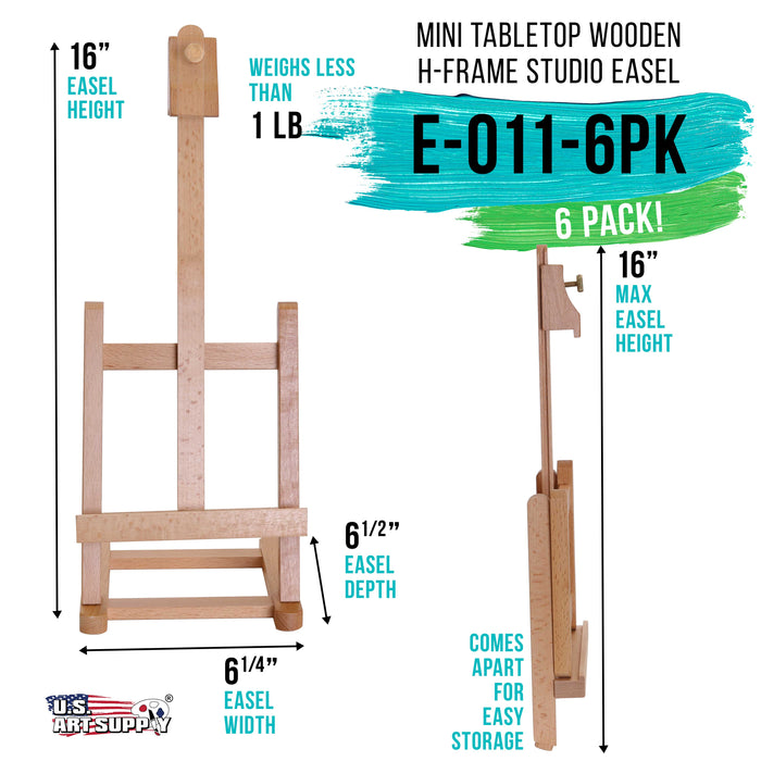 "16"" Mini Tabletop Wooden H-Frame Studio Easel (Pack of 6) - Artists Adjustable Beechwood Painting and Display Easel, Holds Up To 12"" Canvas - Portable Table Desktop Holder Stand"