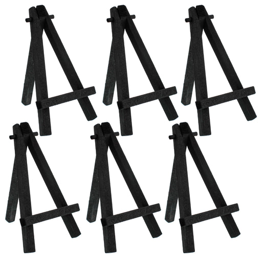 "5"" Mini Black Wood Display Easel (Pack of 6), A-Frame Artist Painting Party Tripod Easel - Tabletop Holder Stand for Small Canvases, Kids Crafts, Business Cards, Signs, Photos, Gifts"