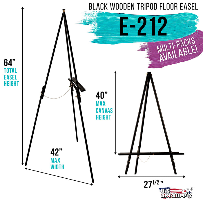 "64"" High Black Torrey Wooden A-Frame Tripod Studio Artist Floor Easel - Adjustable Tray Height, Holds 40"" Canvas - Wood Display Holder Stand for Paintings Drawings Framed Photos, Signs"