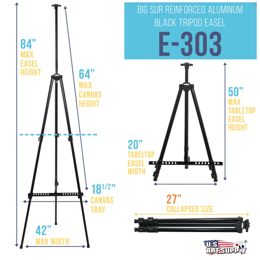 "84"" High XL Reinforced Aluminum Easel, Black Tripod Artist Field and Display Easel Stand (Pack of 4) - Extra Large Floor, Tabletop, Adjustable Height, Holds 64"" Canvas, Portable Bag"