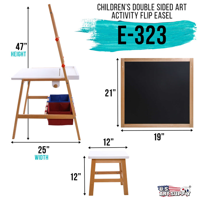Children's Double-Sided Art Activity Flip Easel Board with Chalkboard, Magnetic Dry Erase Board, Desk, Paper Roll, Storage Bins, Stool - Kids Toddlers Learn to Paint, Draw, Write, Fun