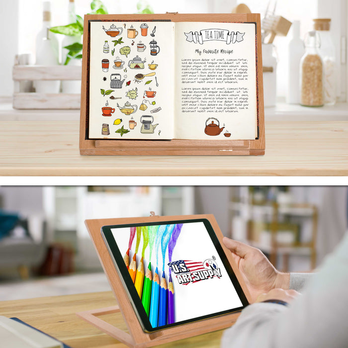 Wooden Table Bookrack Easel, Cookbook Stand, Text Book Tablet Rest - Premium Beechwood, Adjustable Incline - Portable Wood Kitchen Countertop Recipe Rack