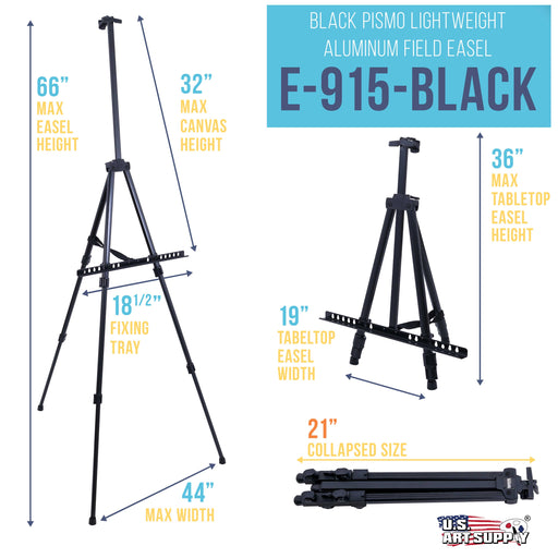 "66 Inch Sturdy Aluminum Tripod Artist Field and Display Easel Stand - Adjustable Height 20"" to 5.5 Feet, Holds Up To 32"" Canvas - Floor and Tabletop Displaying, Painting - Portable Bag"
