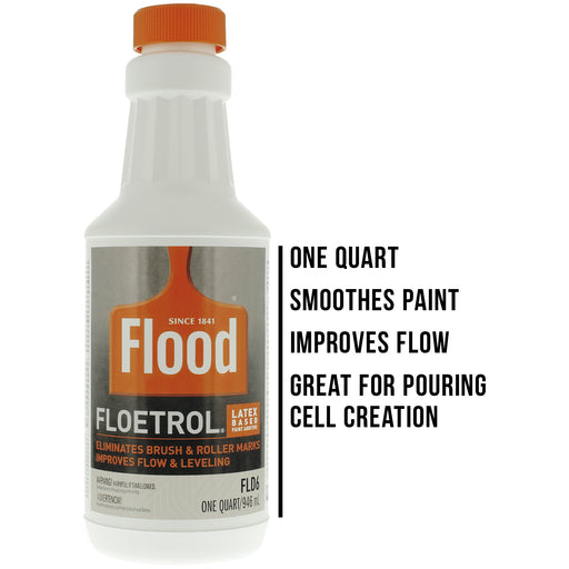 1 Quart Floetrol Additive Pouring Supply Paint Medium Basic Kit for Mixing, Stain, Epoxy, Resin - Plastic Cups, Mini Painting Stands, Sticks, Spreaders