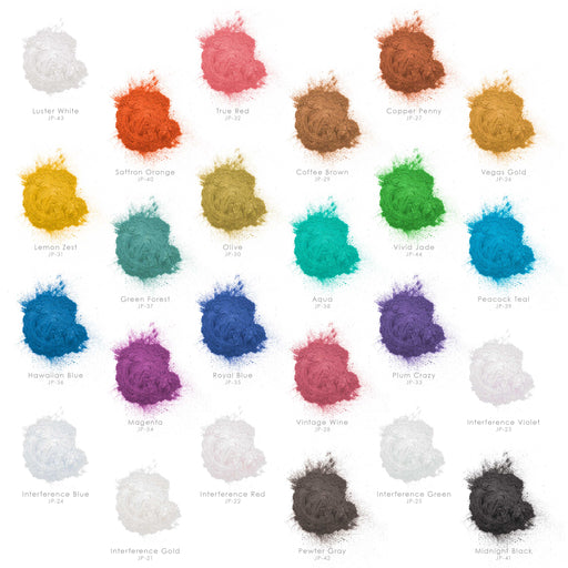 Jewelescent 24 Color Mica Pearl Powder Pigment Master Set Kit, 3.5 oz (100g) Sealed Pouches - Cosmetic Grade, Metallic Color Dye