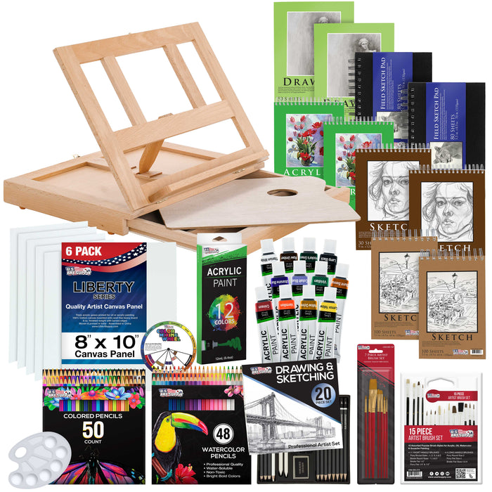 171-Piece Acrylic Painting & Sketch Drawing Set with Wood Easel, Acrylic Paint, 4 Paper Pads, Canvas Panels, Brushes, Color Pencil Set, Hardbound Sketchbook and Plastic Palette