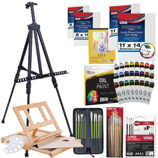 "70-Piece Oil Painting Set with Aluminum Floor Easel, Wood Table Easel, 24 Oil Paint Colors, Oil Painting Pad, 8""x10"" Stretched Canvases, 11""x14"" Stretched Canvases, Artist Brushes"