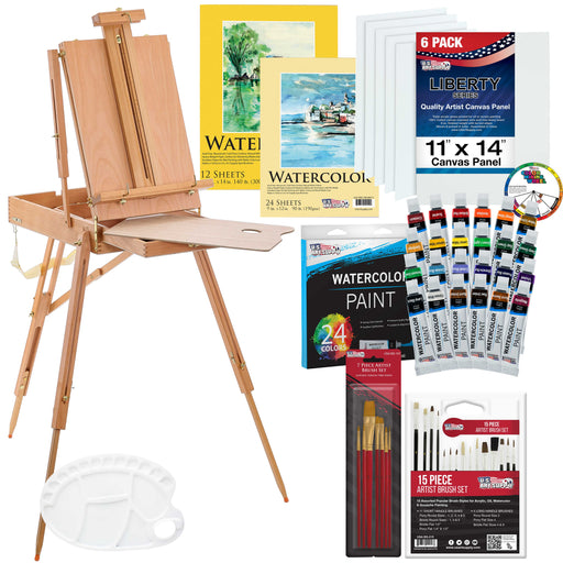 "57-Piece Watercolor Painting Kit with French Easel, Watercolor Paint, 11""x14"" Canvas Panels, 11""x14"" and 9""x12"" Watercolor Paper, Nylon Paint Brushes, Multipurpose Paint Brushes"