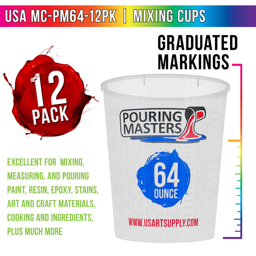 Pouring Masters 64 Ounce (2000ml) Graduated Plastic Mixing Cups (Box of 12) - Use for Paint, Resin, Epoxy, Art, Kitchen - Measurements OZ. ML. Ratios