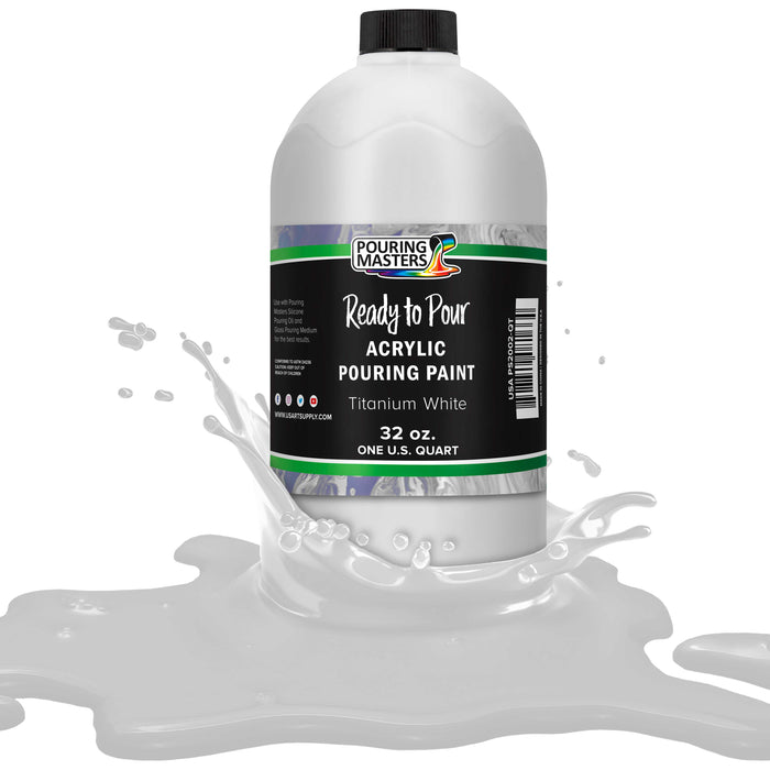 Titanium White Acrylic Ready to Pour Pouring Paint – Premium 32-Ounce Pre-Mixed Water-Based - for Canvas, Wood, Paper, Crafts, Tile, Rocks and More