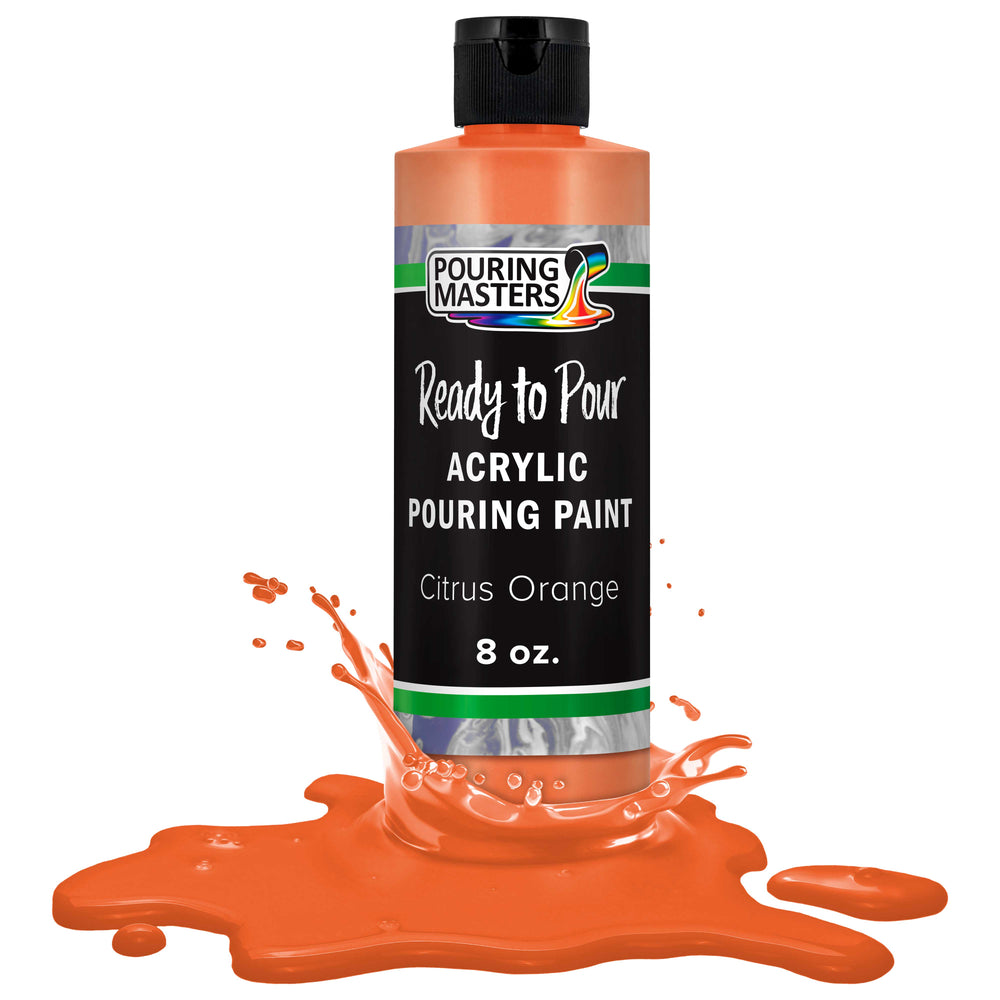 Citrus Orange Acrylic Ready to Pour Pouring Paint – Premium 8-Ounce Pre-Mixed Water-Based - for Canvas, Wood, Paper, Crafts, Tile, Rocks and More