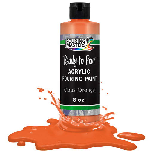 Citrus Orange Acrylic Ready to Pour Pouring Paint Premium 8-Ounce Pre-Mixed Water-Based - for Canvas, Wood, Paper, Crafts, Tile, Rocks and More