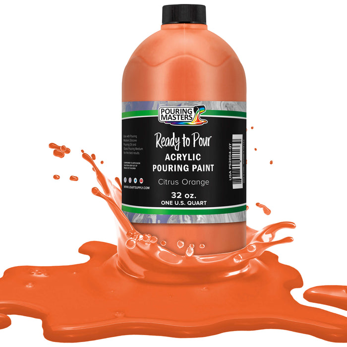 Citrus Orange Acrylic Ready to Pour Pouring Paint – Premium 32-Ounce Pre-Mixed Water-Based - for Canvas, Wood, Paper, Crafts, Tile, Rocks and More