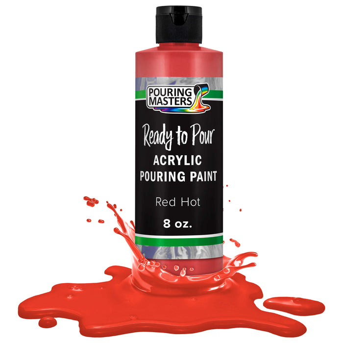 Hot Tamale Red Acrylic Ready to Pour Pouring Paint – Premium 8-Ounce Pre-Mixed Water-Based - for Canvas, Wood, Paper, Crafts, Tile, Rocks and More