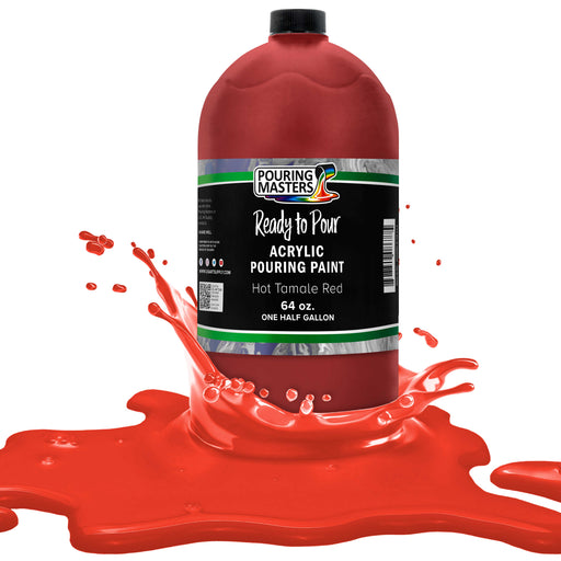 Hot Tamale Red Acrylic Ready to Pour Pouring Paint Premium 64-Ounce Pre-Mixed Water-Based - for Canvas, Wood, Paper, Crafts, Tile, Rocks and More