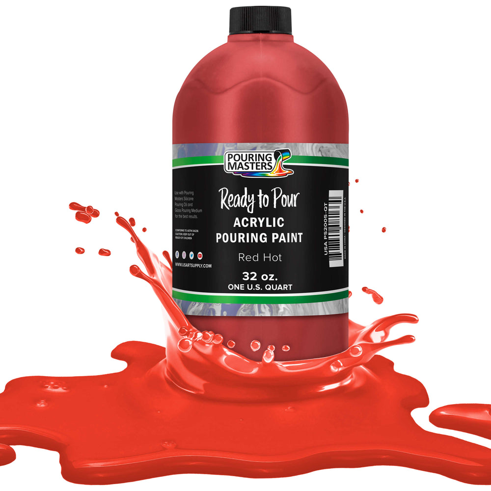 Hot Tamale Red Acrylic Ready to Pour Pouring Paint – Premium 32-Ounce Pre-Mixed Water-Based - for Canvas, Wood, Paper, Crafts, Tile, Rocks and More