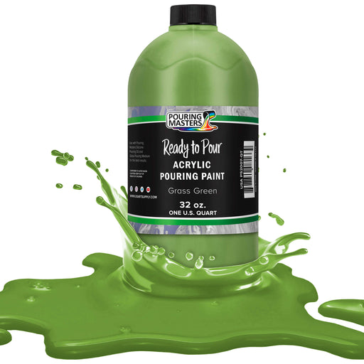 Grass Green Acrylic Ready to Pour Pouring Paint – Premium 32-Ounce Pre-Mixed Water-Based - for Canvas, Wood, Paper, Crafts, Tile, Rocks and More