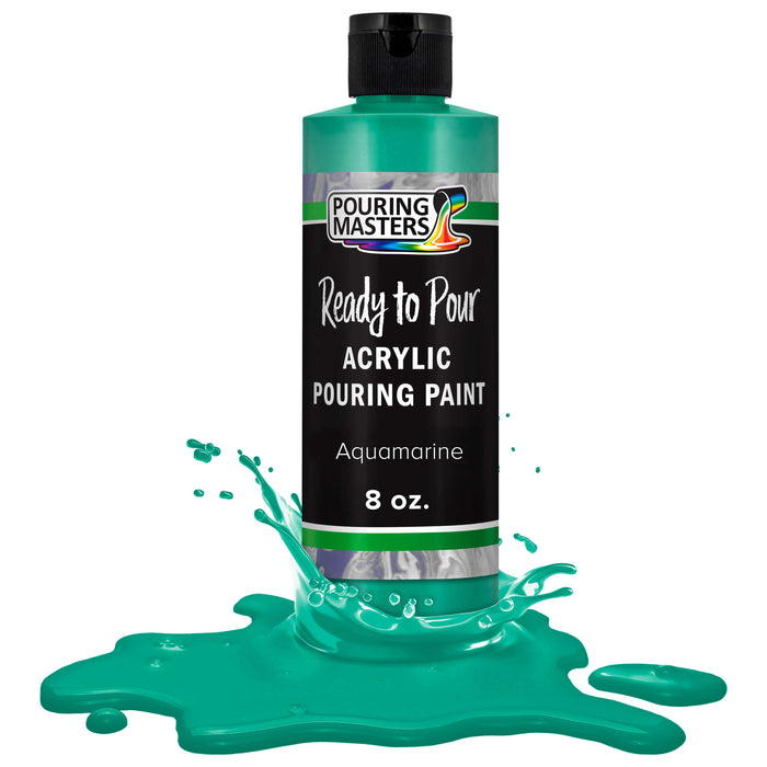Aquamarine Acrylic Ready to Pour Pouring Paint Premium 8-Ounce Pre-Mixed Water-Based - for Canvas, Wood, Paper, Crafts, Tile, Rocks and More