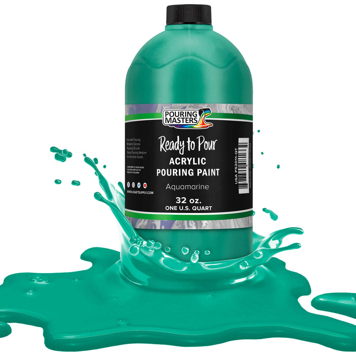 Aquamarine Acrylic Ready to Pour Pouring Paint Ð Premium 32-Ounce Pre-Mixed Water-Based - for Canvas, Wood, Paper, Crafts, Tile, Rocks and More