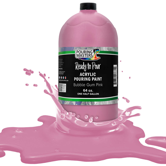Bubble Gum Pink Acrylic Ready to Pour Pouring Paint Premium 64-Ounce Pre-Mixed Water-Based - for Canvas, Wood, Paper, Crafts, Tile, Rocks and More