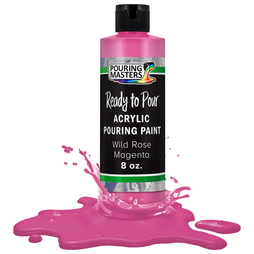 Wild Rose Magenta Acrylic Ready to Pour Pouring Paint Premium 8-Ounce Pre-Mixed Water-Based - for Canvas, Wood, Paper, Crafts, Tile, Rocks and More