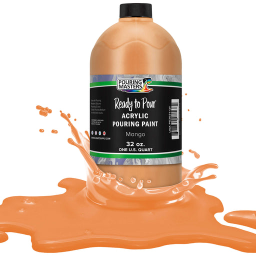 Mango Acrylic Ready to Pour Pouring Paint – Premium 32-Ounce Pre-Mixed Water-Based - for Canvas, Wood, Paper, Crafts, Tile, Rocks and More