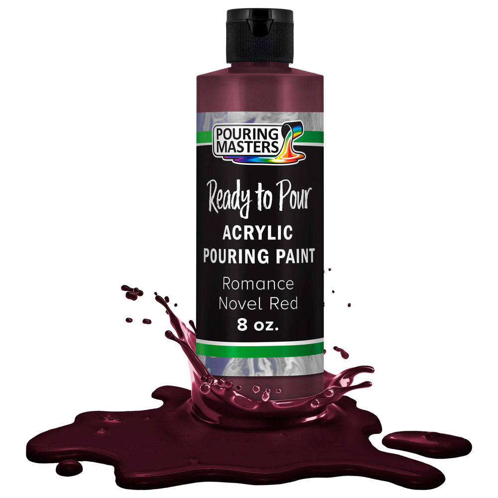 Romance Novel Red Acrylic Ready to Pour Pouring Paint – Premium 8-Ounce Pre-Mixed Water-Based - for Canvas, Wood, Paper, Crafts, Tile, Rocks and More