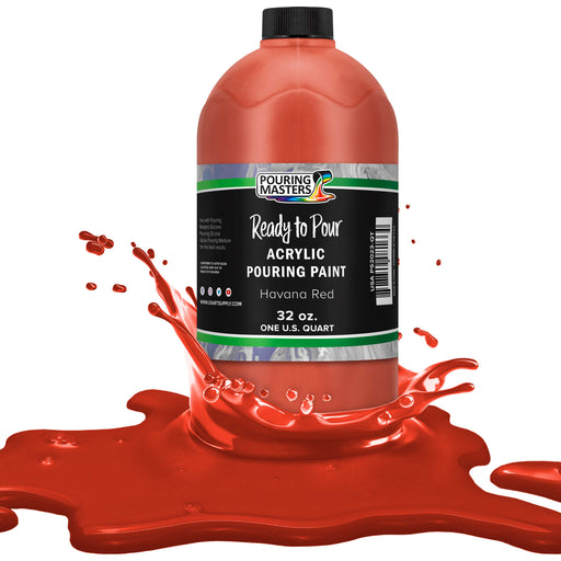 Havana Red Acrylic Ready to Pour Pouring Paint – Premium 32-Ounce Pre-Mixed Water-Based - for Canvas, Wood, Paper, Crafts, Tile, Rocks and More