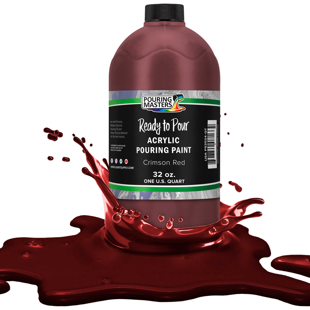 Crimson Red Acrylic Ready to Pour Pouring Paint – Premium 32-Ounce Pre-Mixed Water-Based - for Canvas, Wood, Paper, Crafts, Tile, Rocks and More