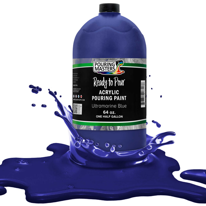 Ultramarine Blue Acrylic Ready to Pour Pouring Paint Premium 64-Ounce Pre-Mixed Water-Based - for Canvas, Wood, Paper, Crafts, Tile, Rocks and More