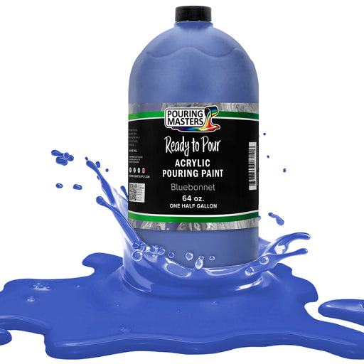 Bluebonnet Acrylic Ready to Pour Pouring Paint Premium 64-Ounce Pre-Mixed Water-Based - for Canvas, Wood, Paper, Crafts, Tile, Rocks and More