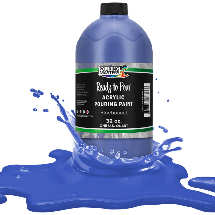 Bluebonnet Acrylic Ready to Pour Pouring Paint – Premium 32-Ounce Pre-Mixed Water-Based - for Canvas, Wood, Paper, Crafts, Tile, Rocks and More