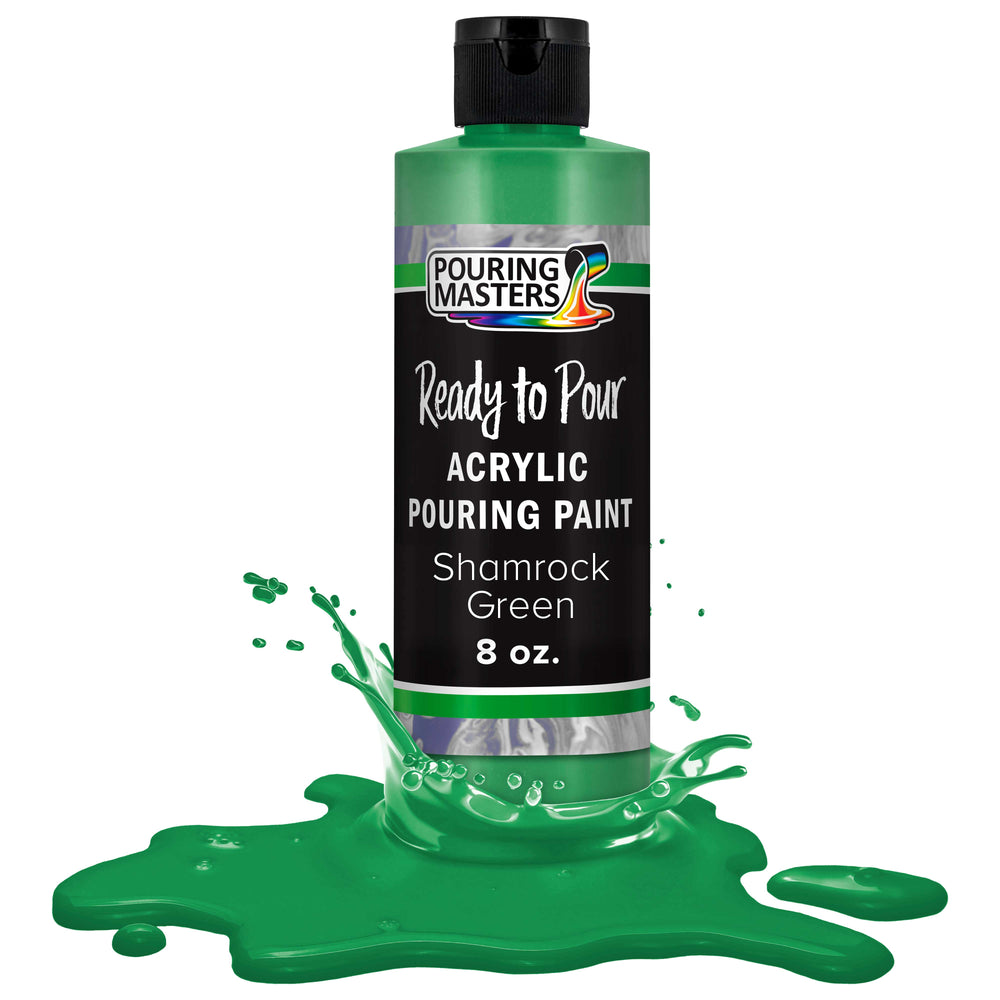 Shamrock Green Acrylic Ready to Pour Pouring Paint Ð Premium 8-Ounce Pre-Mixed Water-Based - for Canvas, Wood, Paper, Crafts, Tile, Rocks and More