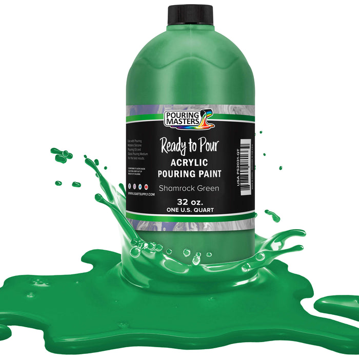 Shamrock Green Acrylic Ready to Pour Pouring Paint Premium 32-Ounce Pre-Mixed Water-Based - for Canvas, Wood, Paper, Crafts, Tile, Rocks and More