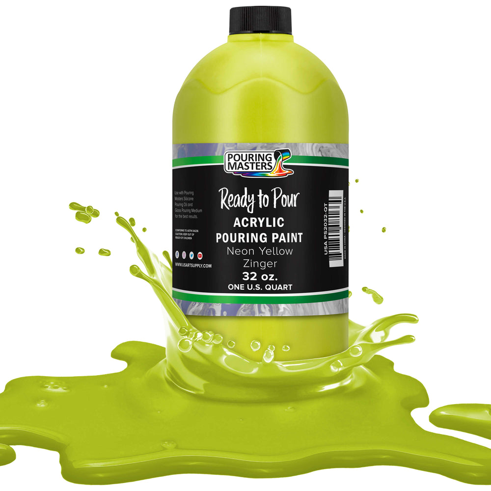 Neon Yellow Zinger Acrylic Ready to Pour Pouring Paint Premium 32-Ounce Pre-Mixed Water-Based - for Canvas, Wood, Paper, Crafts, Tile, Rocks and More