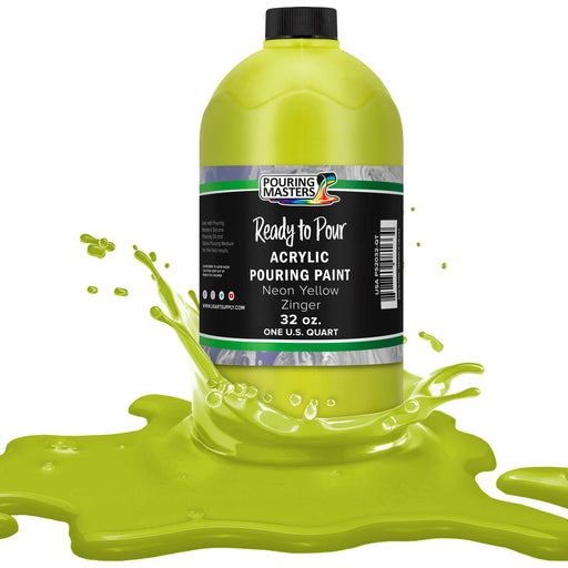 Neon Yellow Zinger Acrylic Ready to Pour Pouring Paint – Premium 32-Ounce Pre-Mixed Water-Based - for Canvas, Wood, Paper, Crafts, Tile, Rocks and More