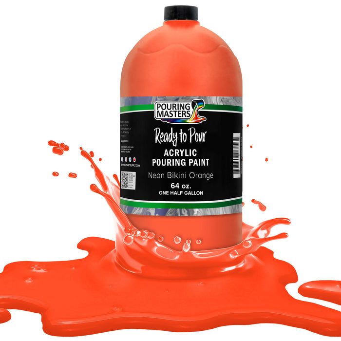 Neon Bikini Orange Acrylic Ready to Pour Pouring Paint Premium 64-Ounce Pre-Mixed Water-Based - for Canvas, Wood, Paper, Crafts, Tile, Rocks and More