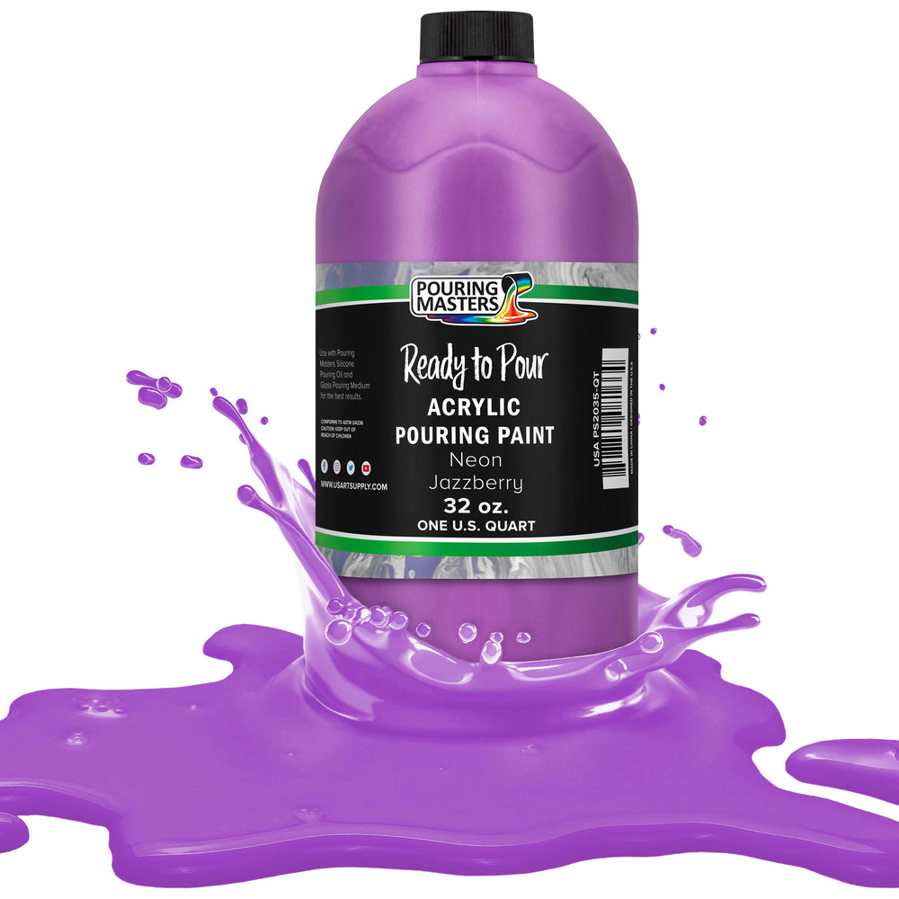 Neon Jazzberry Acrylic Ready to Pour Pouring Paint Premium 32-Ounce Pre-Mixed Water-Based - for Canvas, Wood, Paper, Crafts, Tile, Rocks and More