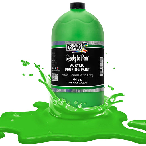 Neon Green with Envy Acrylic Ready to Pour Pouring Paint Premium 64-Ounce Pre-Mixed Water-Based - for Canvas, Wood, Paper, Crafts, Tile, Rocks and More