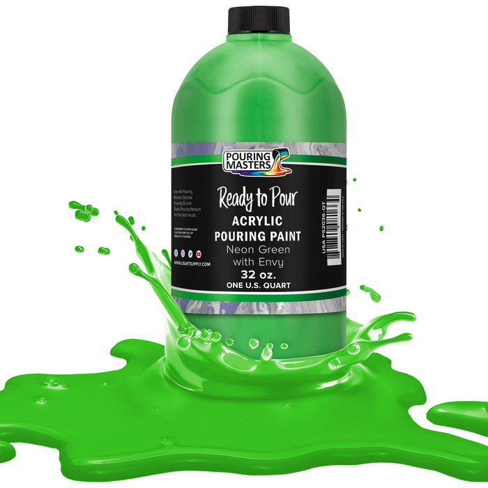 Neon Green with Envy Acrylic Ready to Pour Pouring Paint Premium 32-Ounce Pre-Mixed Water-Based - for Canvas, Wood, Paper, Crafts, Tile, Rocks and More