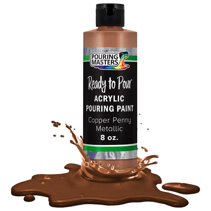 Copper Penny Metallic Acrylic Ready to Pour Pouring Paint – Premium 8-Ounce Pre-Mixed Water-Based - for Canvas, Wood, Paper, Crafts, Tile, Rocks and More