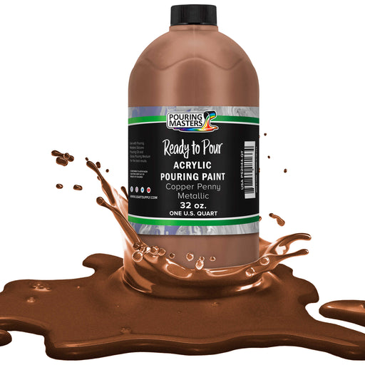 Copper Penny Metallic Acrylic Ready to Pour Pouring Paint – Premium 32-Ounce Pre-Mixed Water-Based - for Canvas, Wood, Paper, Crafts, Tile, Rocks and More
